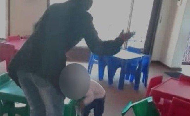VIDEO: Creche teacher beats up child for getting sick at school