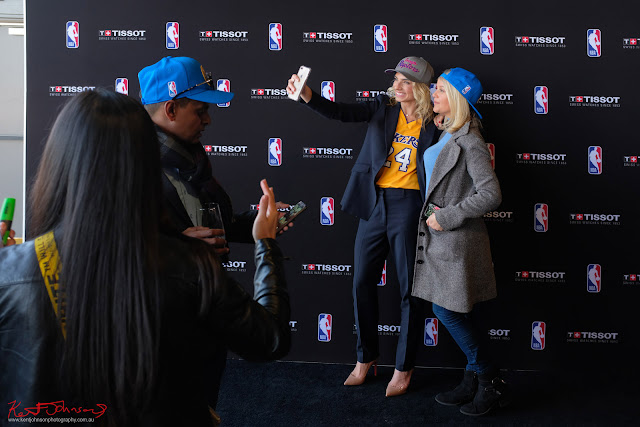 Lauren Hannaford and Jana Hocking getting some selfie time at the TISSOT NBA Finals Party Sydney - Photography by Kent Johnson.