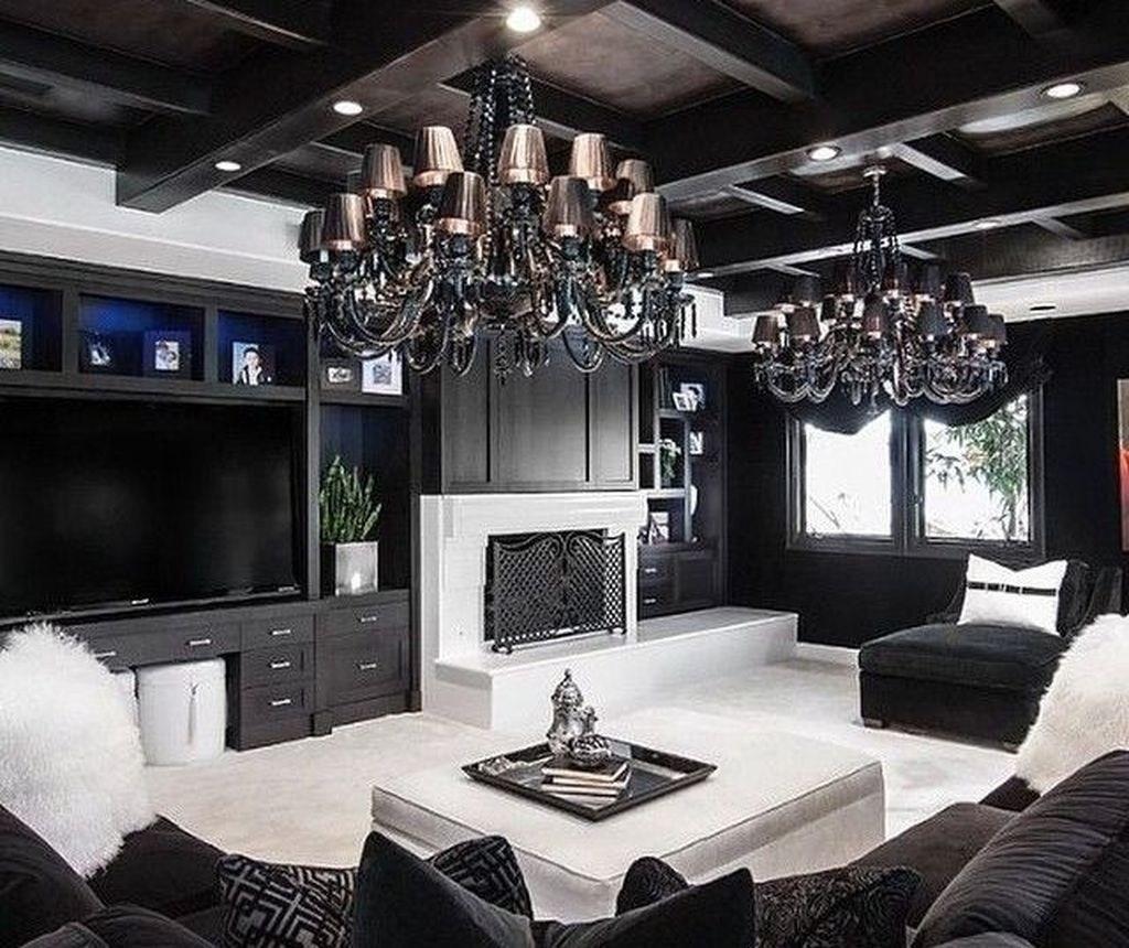 Oval Oak Dining Table, 48 Beautiful Black White Interior Design Living Room Decor Ideas
