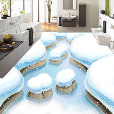 Epoxy 3D flooring art murals for modern bathroom design