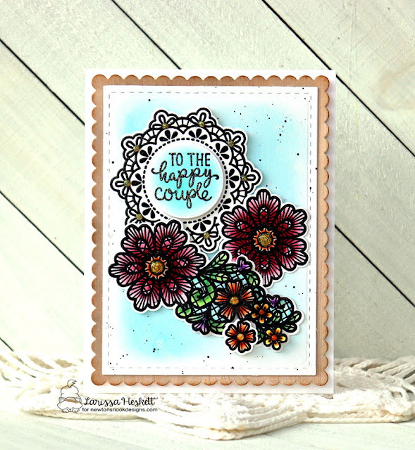 To the Happy Couple by Larissa Heskett for Newton's Nook Designs using Wedding Frills Stamp Set, Wedding Frills Die Set and Frames and Flags Die Set #newtonsnook #newtonsnookdesigns #weddingfrills #weddingcards