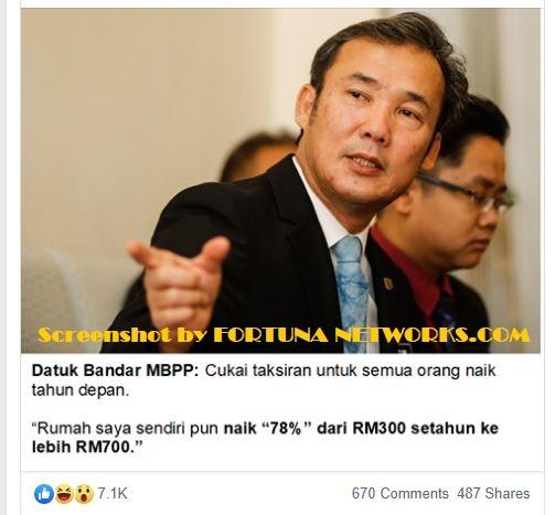 DAP Pulau Pinang Telah Naikkan Cukai Tahunan Untuk Rakyat lebih dari 130%
