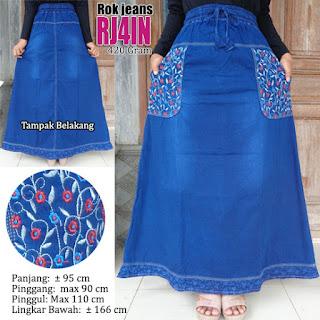 Rok jeans panjang model bordir plus motif cantik zaman sekarang