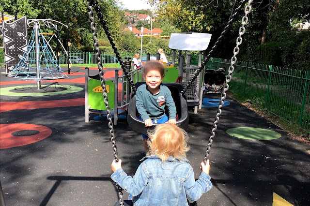 Swings at Traps Hill Playground in Loughton
