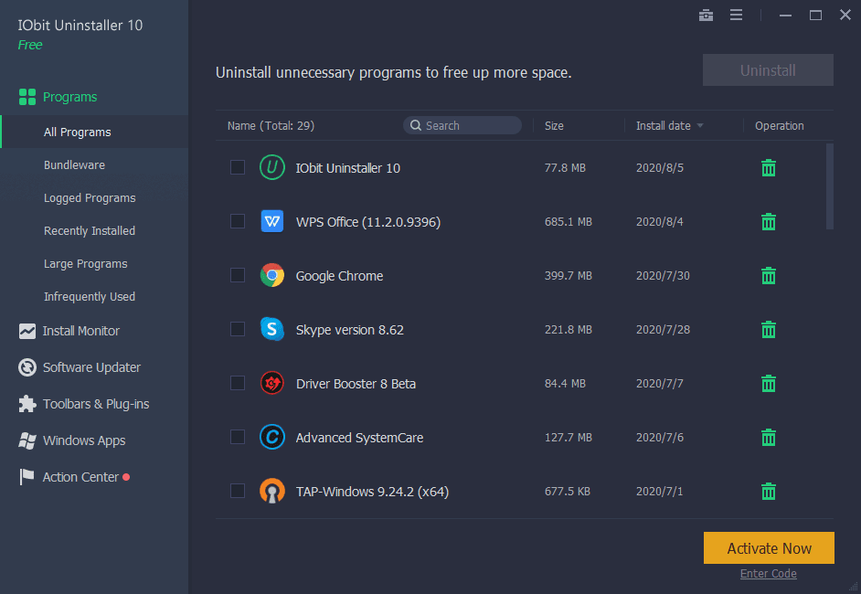IObit Uninstaller Overview Screenshot