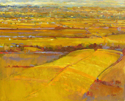 la vallee de begerac depuis monbazillac - oil painting by adam cope