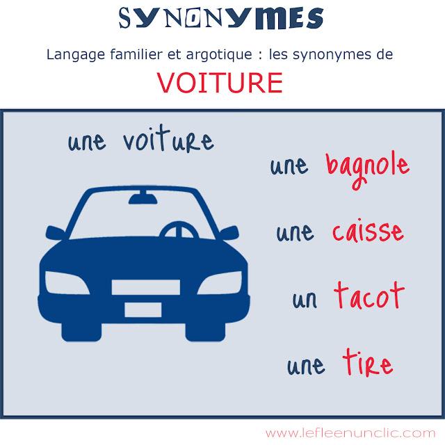 synonymes, langage familier, argot, voiture, FLE, le FLE en un 'clic'