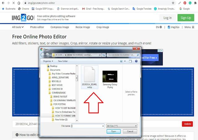 Select Image You Need to Upload to IMG2GO