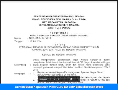 Contoh Surat Keputusan Piket Guru SD SMP SMA
