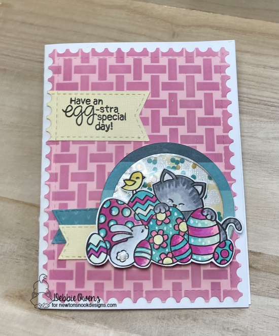 Have an egg-stra special day by Debbie features Basketweave, Framework, Newton's Easter Basket, and Frames & Flags by Newton's Nook Designs; #newtonsnook, #inkypaws, #eastercards, #cardmaking, #catcards