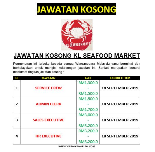 [Jawatan Kosong] Permohonan Kerja di KL Seafood Market Ambilan Ogos - September 2019