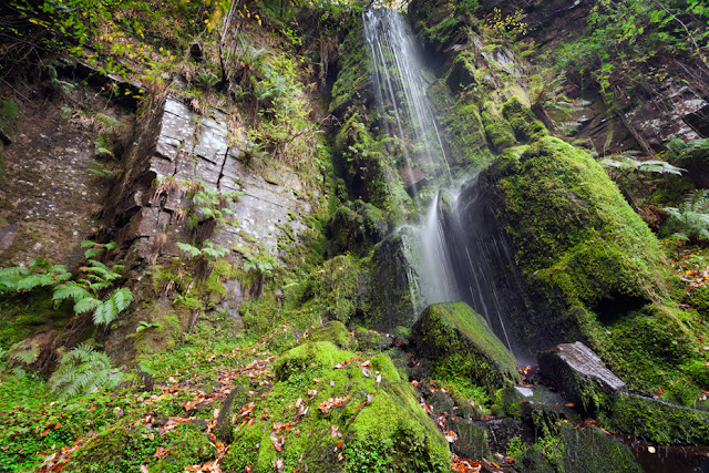 Small waterfall at Melincourt Falls in the Brecon Beacons by Martyn Ferry Photography