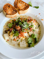 Corn and Potato Chowder with Crispy Proscuitto