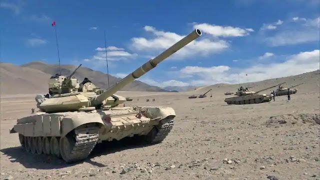 india's battle tank T90 bhishma in ladakh