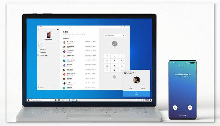 Windows 10 is even closer to macOS. Added calls from smartphone to PC