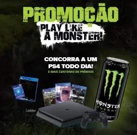 Cadastrar Promoção Monster Energy PS4 Todo Dia - Play Like A Monster