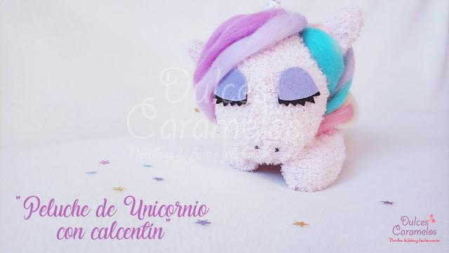 Peluche unicornio calcetin fieltro y lana