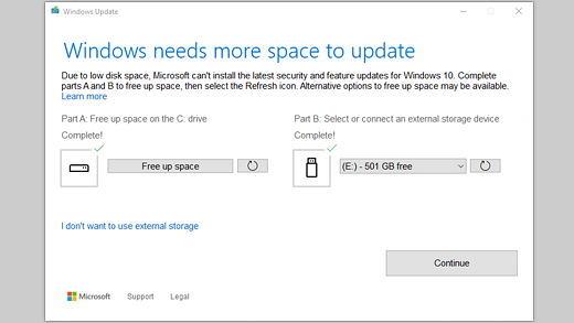Check for low disk space and free up space