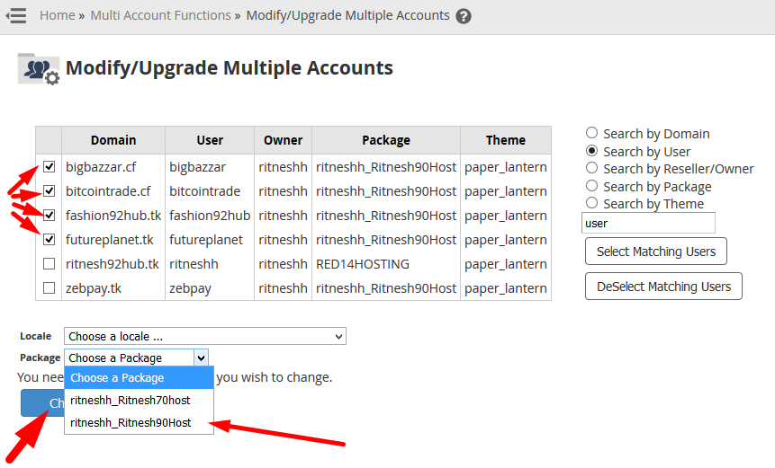 How to change package of multiple cPanel accounts in bulk