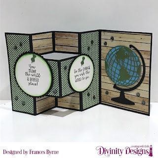 Divinity Designs Stamps: Color My World, Custom Dies: Half Shutter Card with Layers, Globe & Stand, Circles, Scalloped Circles, Paper Collections: Weathered Wood, Boho Bolds
