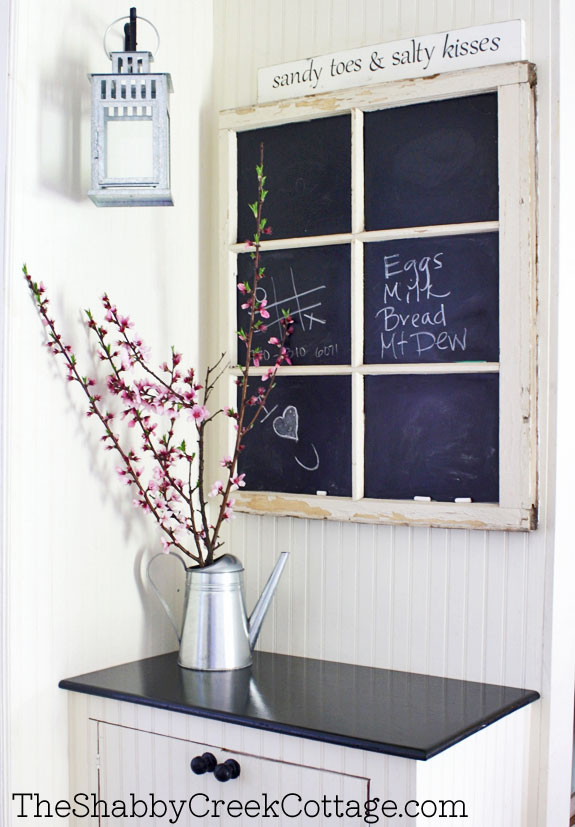 chalkboard decor from vintage window upcycle