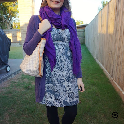 awayfromblue Instagram blue and purple printed paisley sheath dress office outfit
