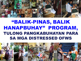 """The Department of Labor and Employment (DOLE)  is giving away capital to overseas Filipino domestic workers and """"distressed"""" OFWs who want to do business back home through its """"Balik Pinas! Balik Hanapbuhay!"""" (BPBH) program, DOLE and its attached agency National Reintegration Center for OFWs  (NRCO) provides livelihood skills training and starter kits to distressed women-OFWs to help them start their own enterprise.According to DOLE 71 OFWs have already benefited from the livelihood program in Region VII.   """"We coordinated with Cebu City's Department of Manpower Placement and Development or DMDP for the conduct of the livelihood skills training on cookery afforded to the OFWs affected, in partnership with the local government unit of Barangay Cogon Central Ramos,""""  NRCO 7 Regional Coordinator Dexter F. Paro said.  In Region IX, The Overseas Workers Welfare Administration Regional Welfare Office  (OWWA RWO-IX) recently awarded livelihood kits to twelve (12) distressed OFW through the """"Balik-Pinas, Balik Hanapbuhay"""" Program. The program beneficiaries received utensils and equipments for putting up a carinderia, a burger stand, or a bakery, whichever business they want to start for their livelihood.       What is """"Balik Pinas, Balik Hanap Buhay""""  Program?      """"Balik Pinas! Balik Hanapbuhay!"""" Program is one-time-availment of non-cash, livelihood assistance intended to provide immediate help to returning OFWs who were displaced from their jobs overseas caused by  political conflicts/wars in their host countries, OFWs who suffered maltreatment, or victimized by human trafficking or similar distressful circumstances.   The livelihood assistance amounting to P10,000 which includes of techno-skills and/or entrepreneurship trainings, starter kits and other services that will enable beneficiaries to quickly start an income generating business. The program aims to enable the beneficiaries to gain and develop skills through access to training services and programs from the agen"""