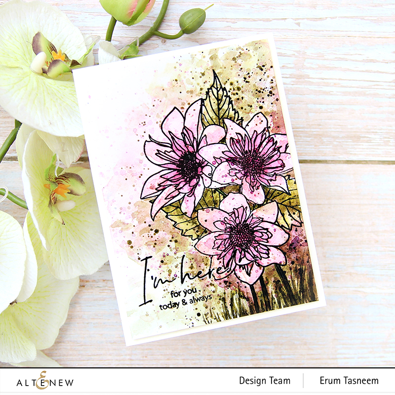 Altenew  Paint-A-Flower: Fashion Monger Dahlia Outline Stamp Set | Erum Tasneem | @pr0digy0