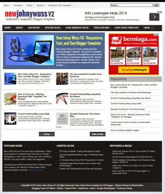 New Johny Wuss V2 Template Blog SEO Fast Responsive Terbaru