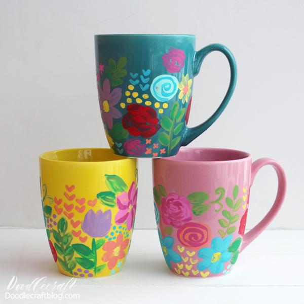 Flower painted ceramic mugs using acrylic paint and dishwasher safe mod podge
