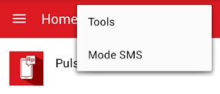 menu navigasi tools dan mode sms/online yang baru