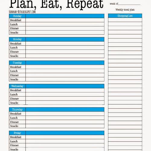 Printable Meal Planner - Oh Hey Hannah - printable meal planner