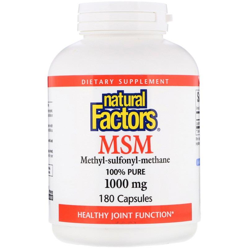 Natural Factors, МСМ, Метил-сульфонил-метан, 1 000 мг, 180 капсул