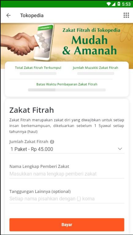 Fitur Pembayaran Zakat Fitrah di Marketplace Tokopedia.