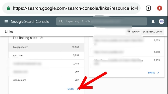 How to check website backlinks using google webmaster tools (Google Search Console) Step 5