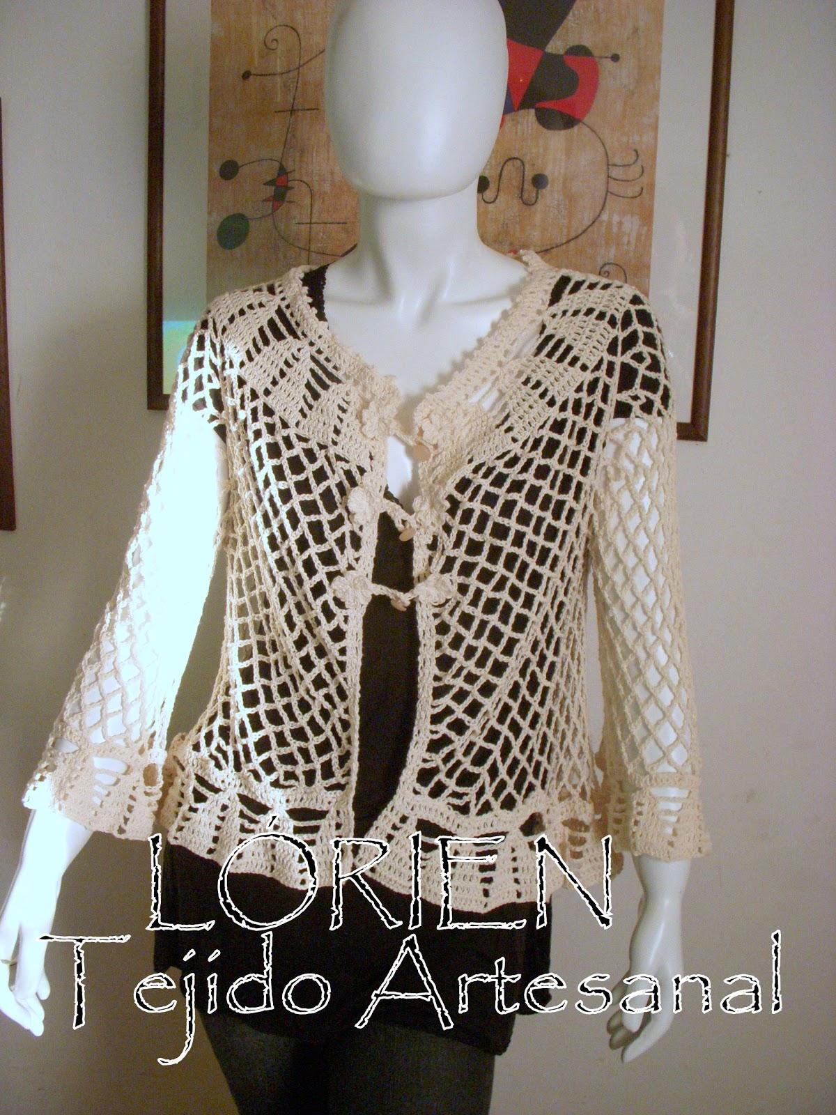 Art. 412-CHALECO CORTO- Tejido al crochet en hilo de algodon con seda.  crudo 08c485048b76