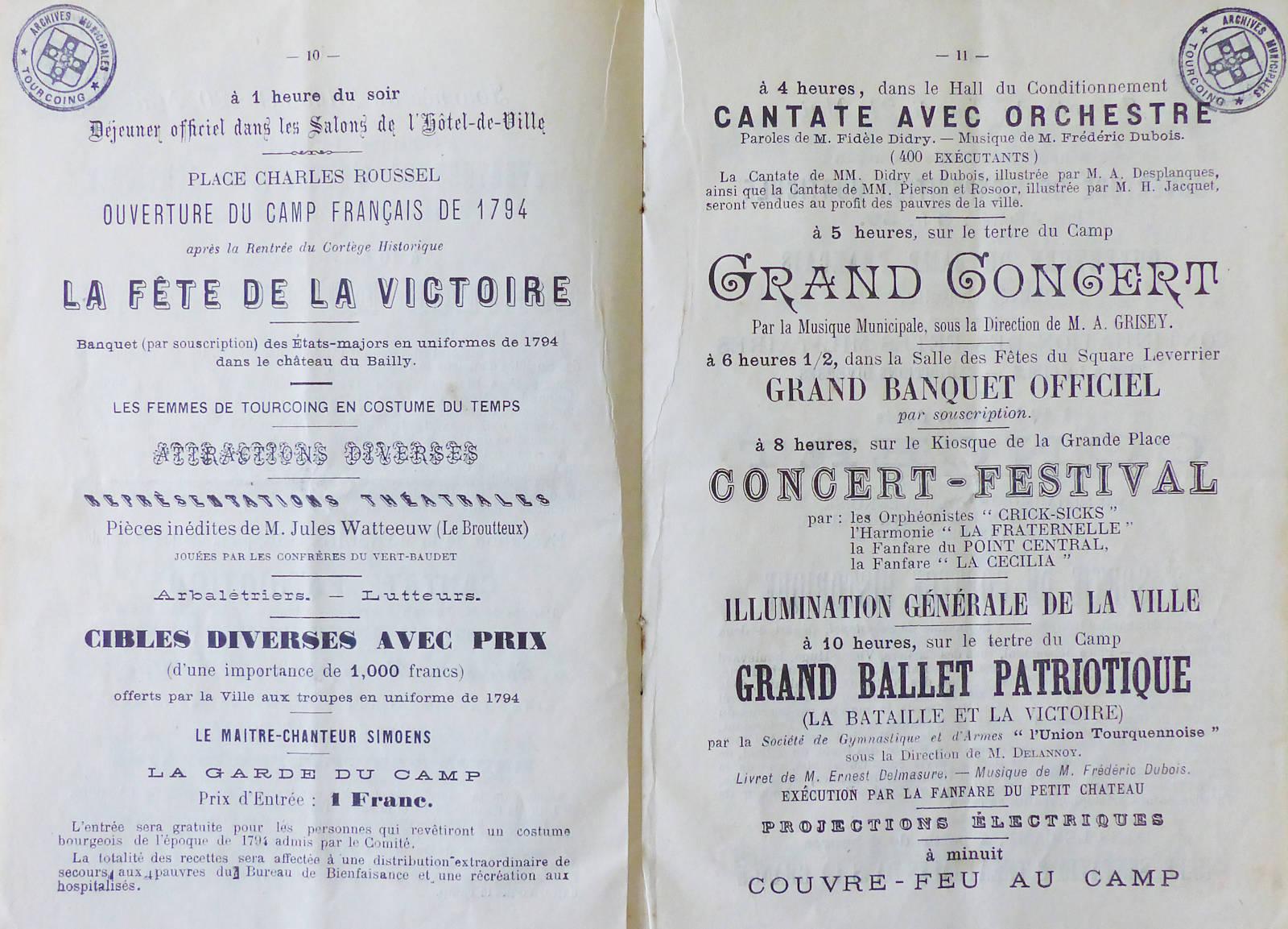 Centenaire Bataille de Tourcoing - Pièces de Jules Watteeuw.
