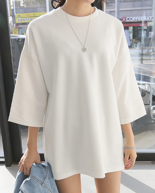 Drop Shoulder 2/3 Sleeve Loose Fit T-Shirt