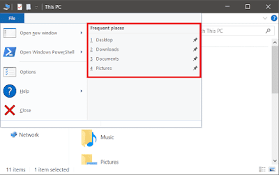 Turn On or Off Recent  Items and Most Visited Places in Windows 10
