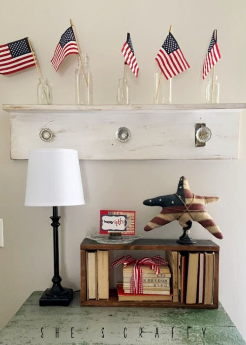 Vintage Farmhouse Home decor - door knob shelf, flags in glass vases