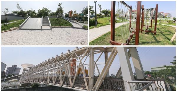 台中烏日仁德公園(兒7公園)|磨石子溜滑梯、沙坑、土庫溪景觀橋