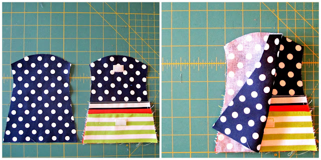 "Main purse pieces ""right"" sides together with pockets, stacked & enclosed"
