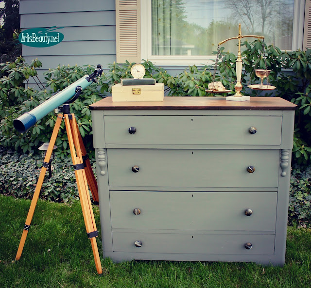 custom gray antique dresser makeover with geo knobs boho chic bohemain diy painted furniture