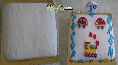 pastanın üzerini şeker hamuru ile kaplamak
