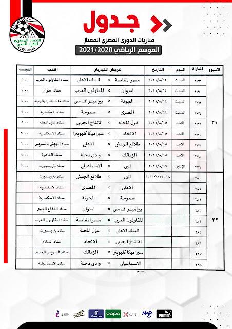 جدول مباريات الأسبوع 31 والأسبوع 32 من الدورى المصرى بعد تعديله