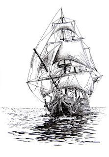 sketsa perahu berlayar