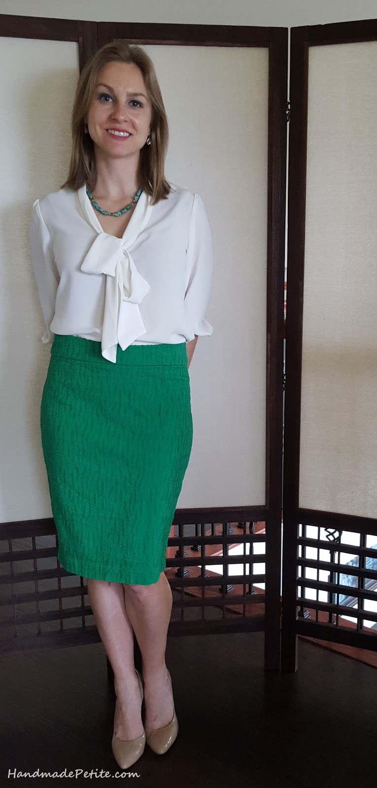Self drafted and sewn  green textured pencil skirt for MeMadeMay