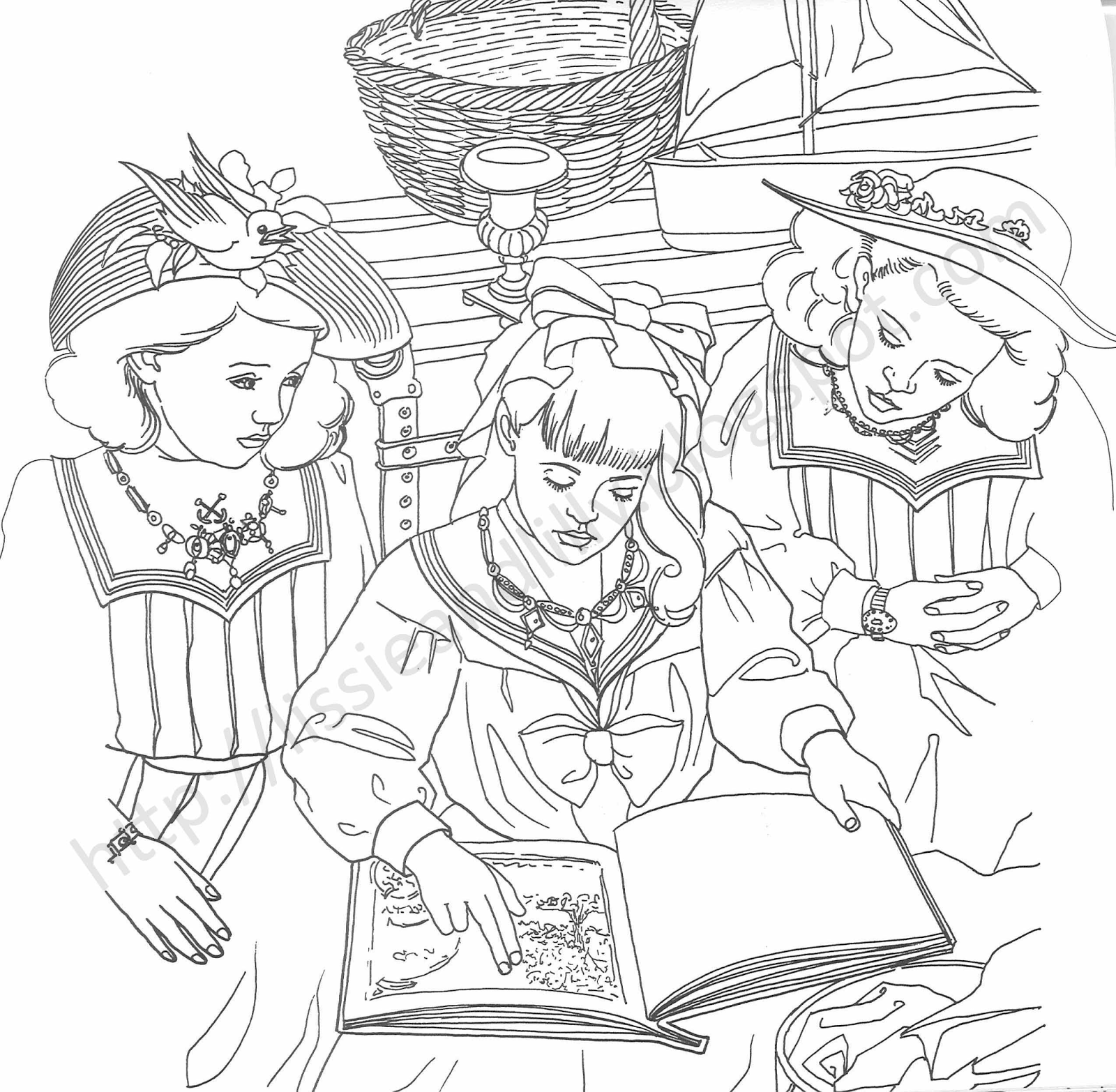 Samantha american girl page coloring pages for American girl coloring pages kit