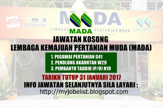 Jawatan Kosong Lembaga Kemajuan Pertanian Muda (MADA) Januari 2017