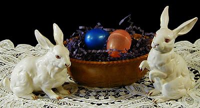 Antique Chocolate Glass Basketweave Nest Base and vintage Lefton Bunnies